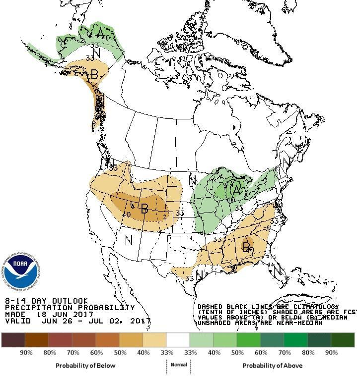 Rainfall is predicted to continue to be average into early July.