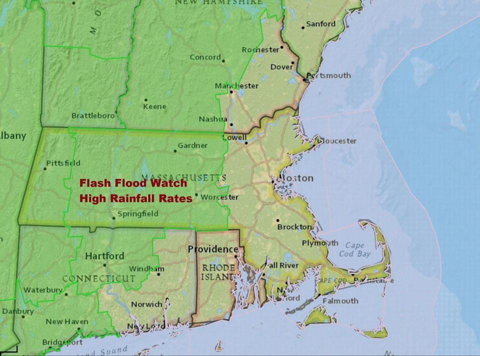 Flash flooding is possible over western New England.