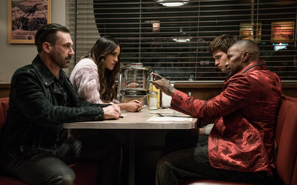 "From left: Jon Hamm, Eiza González, Ansel Elgort, and Jamie Foxx in Edgar Wright's ""Baby Driver."""