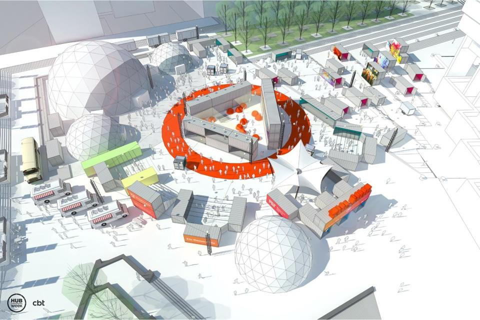 Rendering of HUBweek installation at City Hall. The HUB is being designed and developed in collaboration with award-winning design firm, CBT, and will feature dozens of shipping containers, art installations, and geodesic domes.