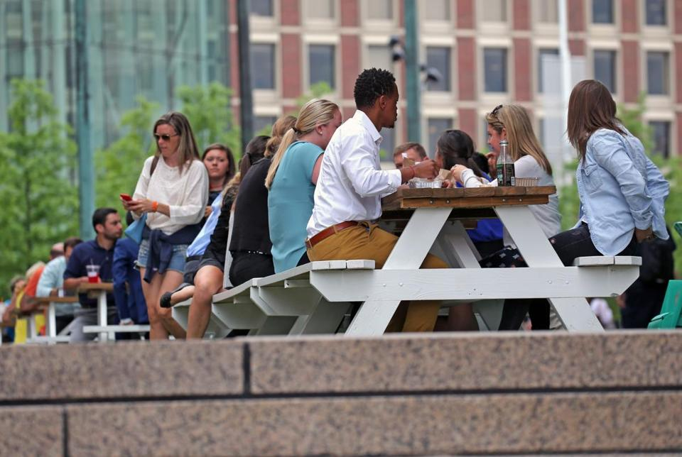 City Hall Plaza has added chairs and tables, among other attempts to draw visitors.