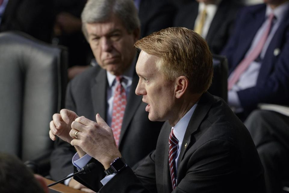 Senator James Lankford, at right, on Wednesday.