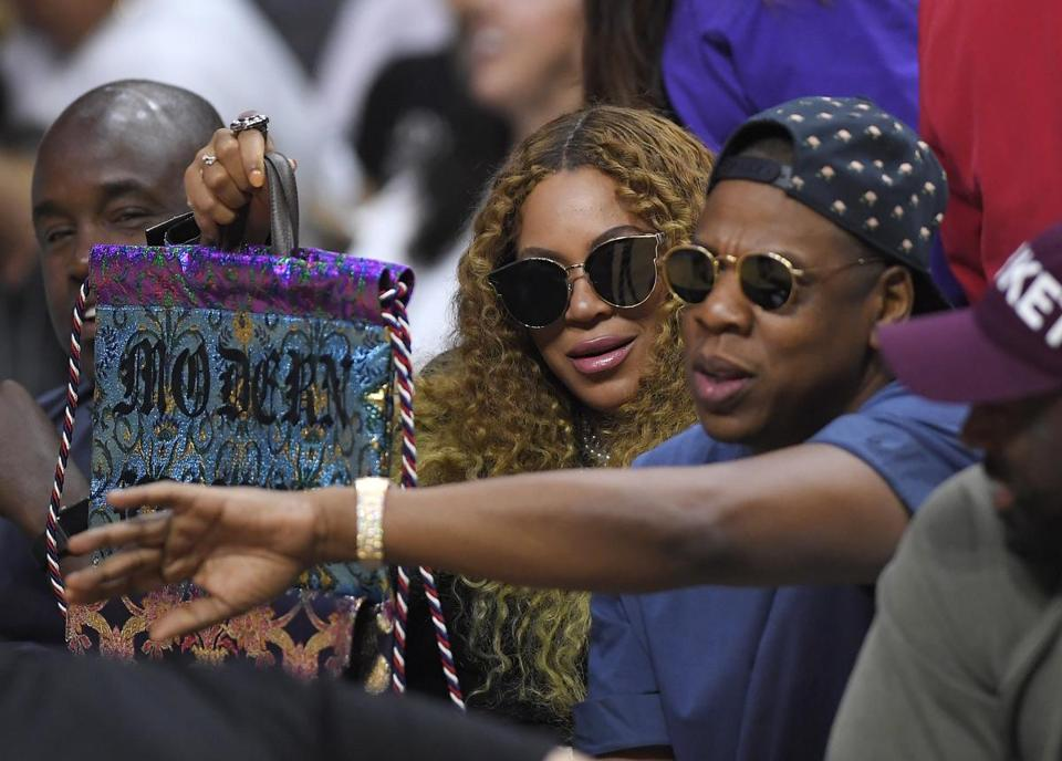 Beyonce and Jay Z watched during the first half in Game 7 of an NBA basketball first-round playoff series between the Los Angeles Clippers and the Utah Jazz in Los Angeles.