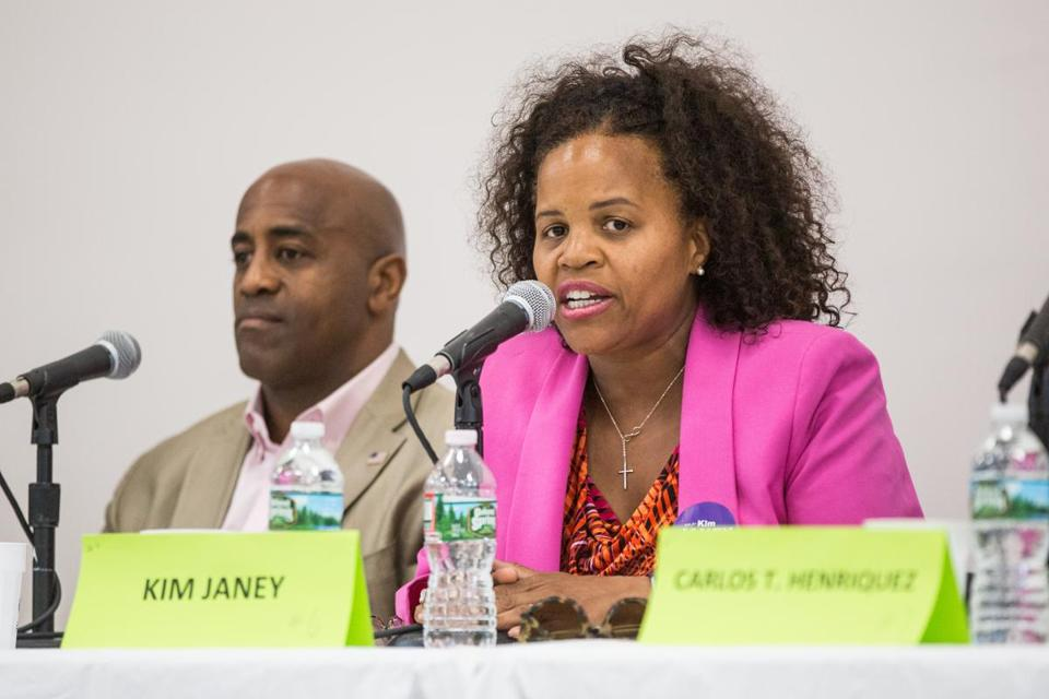 In the crowded City Council race for District 7, Kim Janey (center), a Boston education advocate, got a boost this week.