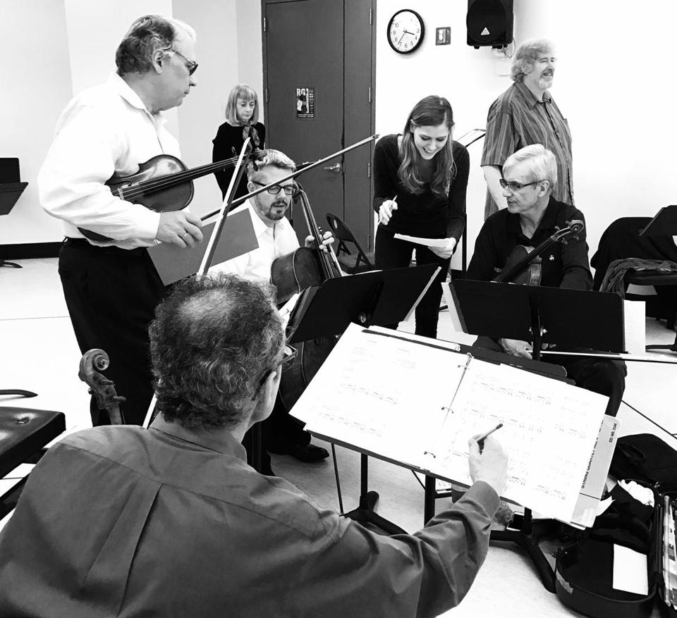 "The Emerson String Quartet in rehearsal for its upcoming performance of ""Shostakovich and the Black Monk: A Russian Fantasy."""