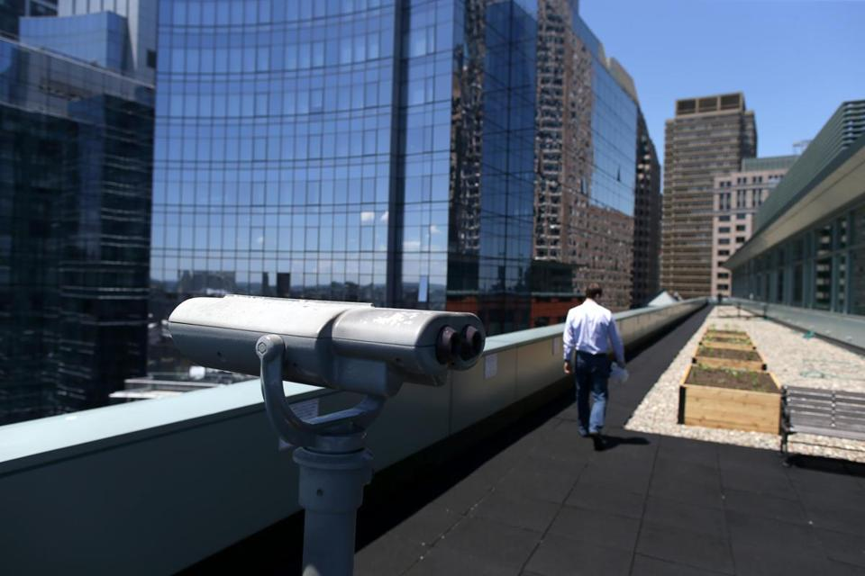 The 14th-floor observation deck at Independence Wharf, 470 Atlantic Ave., is an example of public space on privately owned property. It offers great views of Fort Point Channel and the Rose Fitzgerald Kennedy Greenway.