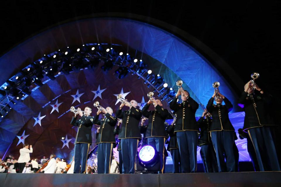 Boston, MA- July 04, 2017: The U. S. Army Field Band plays during the Boston Pops Fireworks Spectacular in Boston, MA on July 4, 2017. (CRAIG F. WALKER/GLOBE STAFF) section: metro reporter: