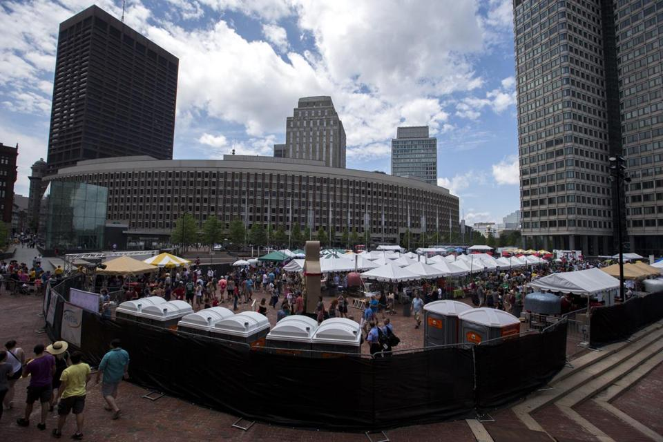An overview of the first annual Boston Pizza Festival at City Hall Plaza.