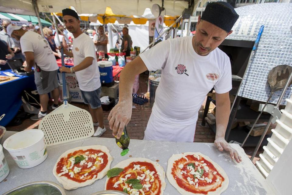 Giovanni Corbo of Da Peppe e Figili Pizzeria prepared pizzas for the oven during the first annual Boston Pizza Festival.