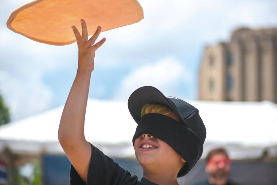 Michael Testa, who along with his younger brother, Nicholas comprise the viral sensation known as the Jersey Pizza Boys, performed during the festival on Saturday.