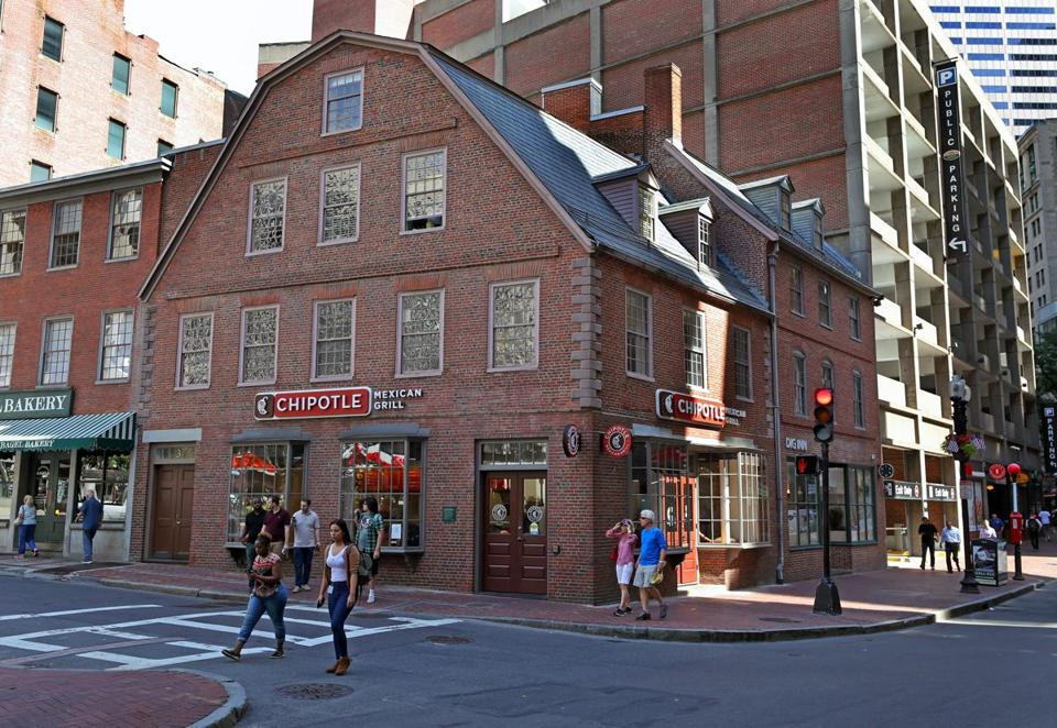 The Old Corner Bookstore, Boston's oldest commercial building, now houses a Chipotle Mexican Grill outlet.