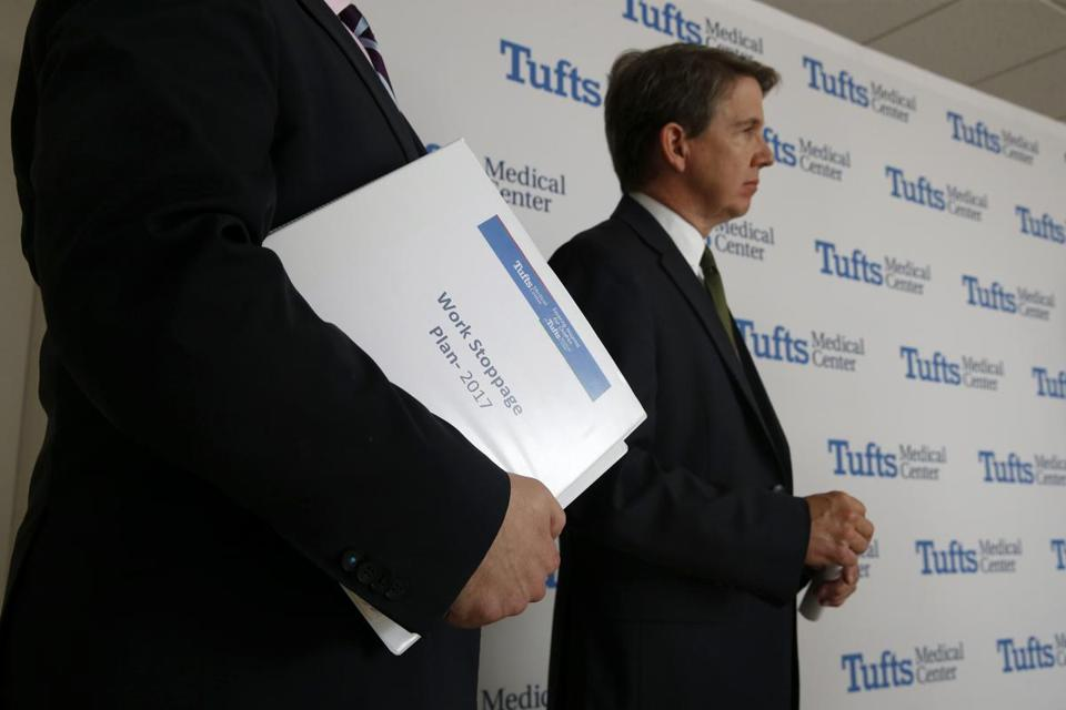 Tufts Medical chief Dr. Michael Wagner says he respects nurses. Those who held a one-day strike were locked out Thursday.