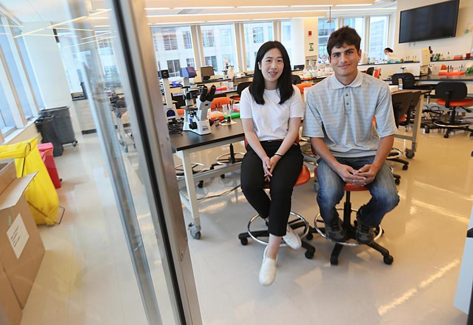 Boston, Ma, 07/10/17, Cuishan Mei, left, and Sayed Shah , cq, are two students who are first-generation immigrants who will also be the first in their families to attend college. They received the Vertex Science Leaders Scholarship, a four-year, full-ride scholarship to pursue an education in Science, Technology, Engineering or Math (STEM) at any University of Massachusetts campus. Photographed at Vertex. Suzanne Kreiter/Globe Staff