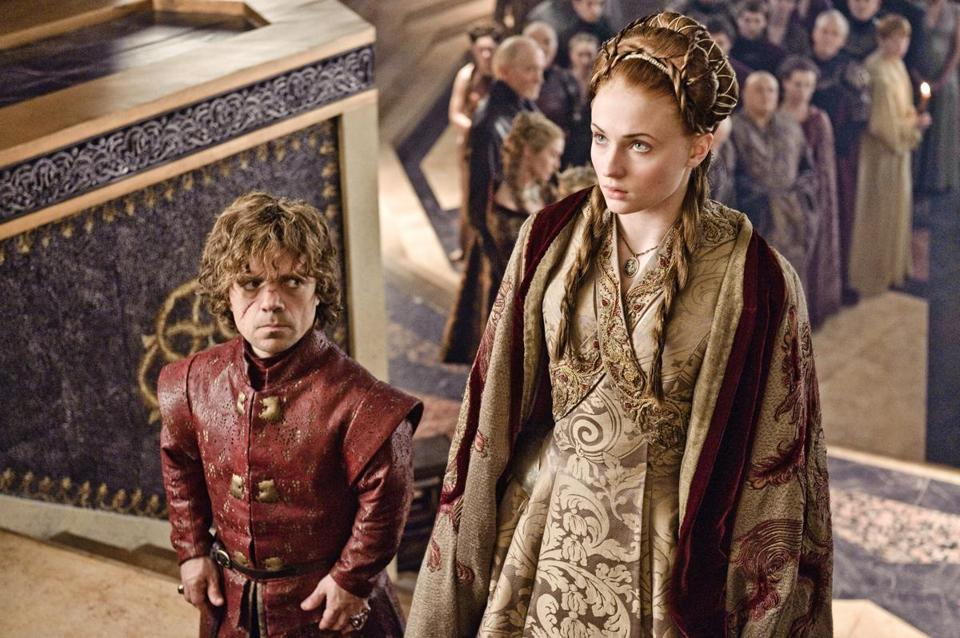 "Peter Dinklage and Sophie Turner in ""Game of Thrones,"" which returns on Sunday."