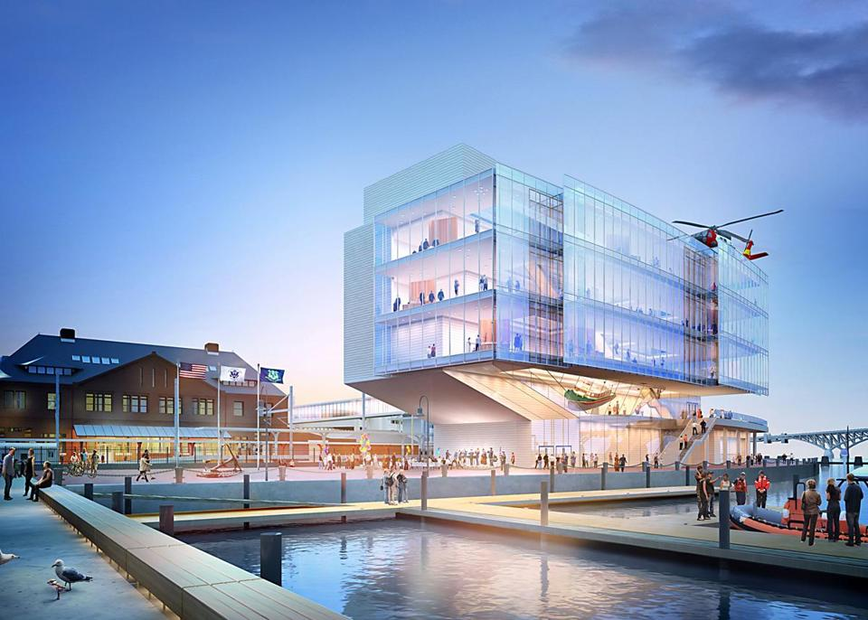 An architectural rendering of the proposed museum on the New London waterfront.