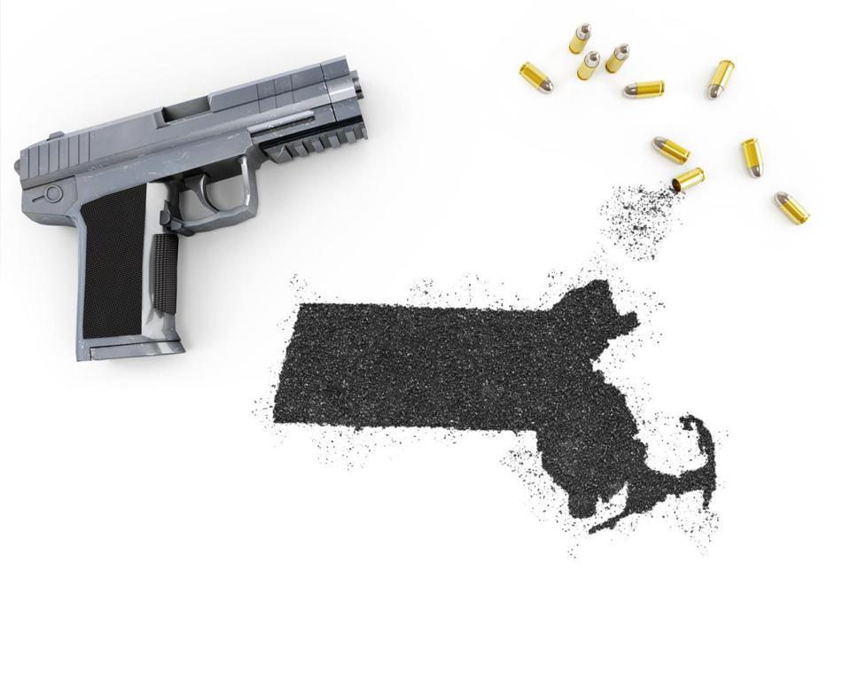 Gunpowder forming the shape of Massachusetts and a handgun.(series)