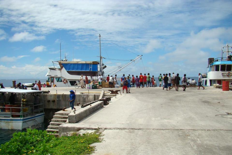 This picture taken on Nov. 13, 2010, shows the dock at Jabor Island, Jaluit Atoll.