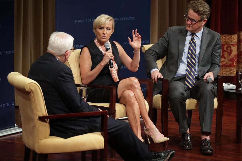 """Morning Joe"" hosts Joe Scarborough (right) and Mika Brzezinski are interviewed by financier David Rubenstein during a Harvard Kennedy School Institute of Politics event in DC."