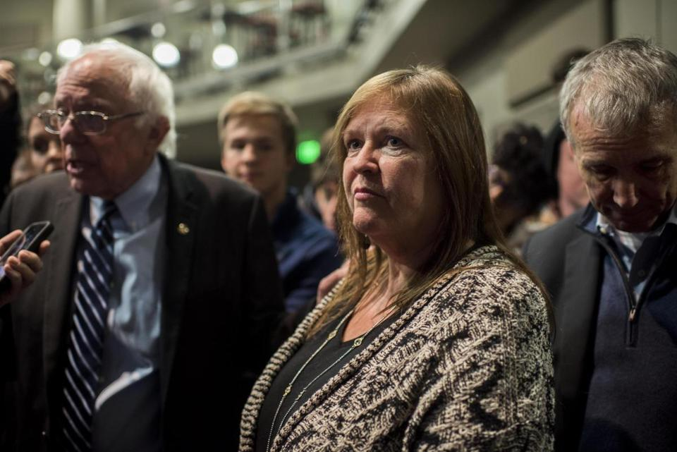 Jane Sanders, wife of Senator Bernie Sanders, stood near her husband after a rally in Iowa in 2015.