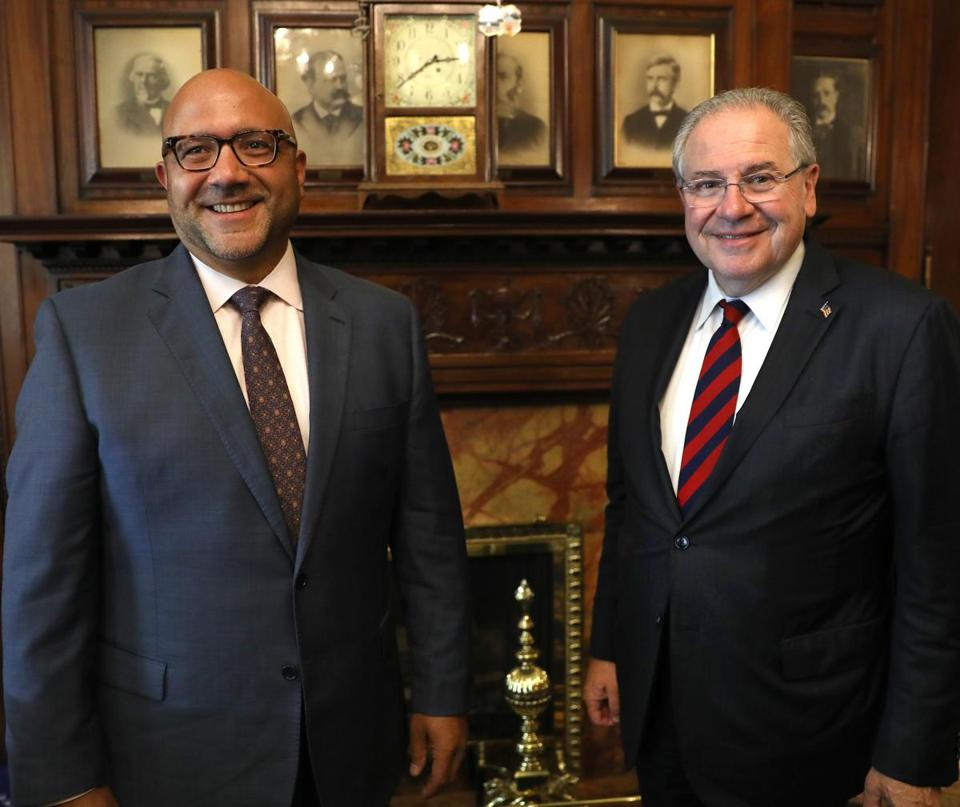 House Speaker Robert A. DeLeo (right) chose Representative Jeffrey Sánchez of Jamaica Plain as chairman of the House Committee on Ways and Means.