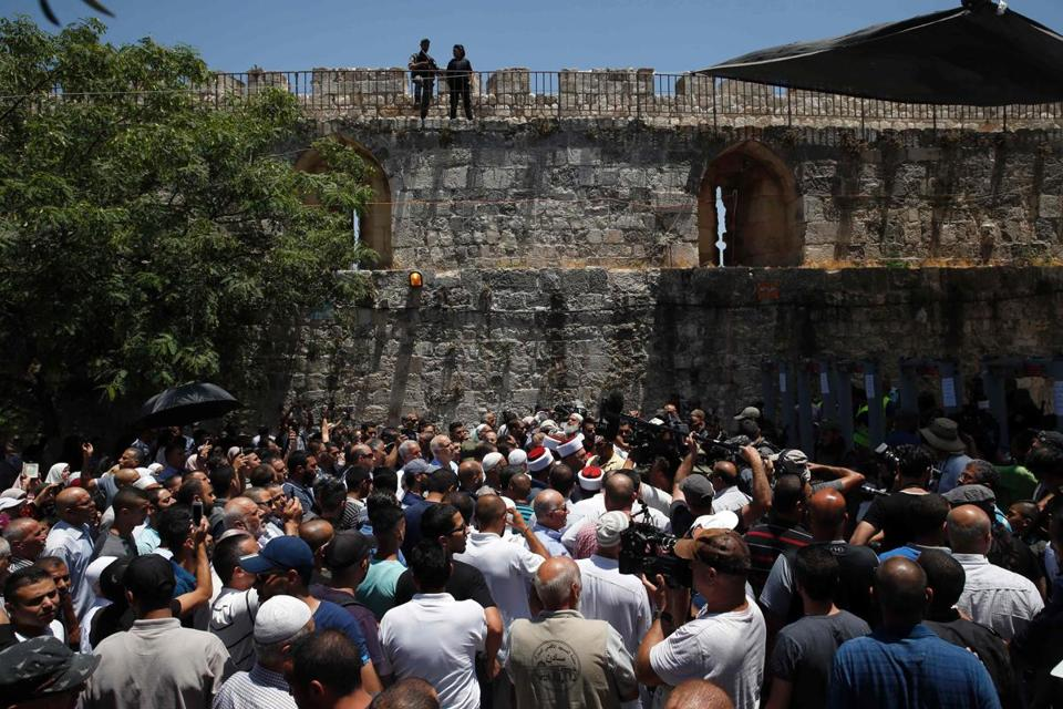 Palestinian sheikhs refused to enter the sacred site because of new security measures.