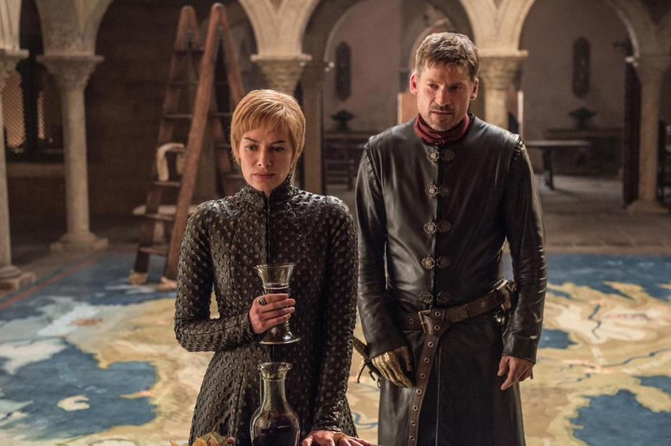 "Lena Headey (left) and Nikolaj Coster-Waldau in a scene from Season 7 ""Game of Thrones"" episode."