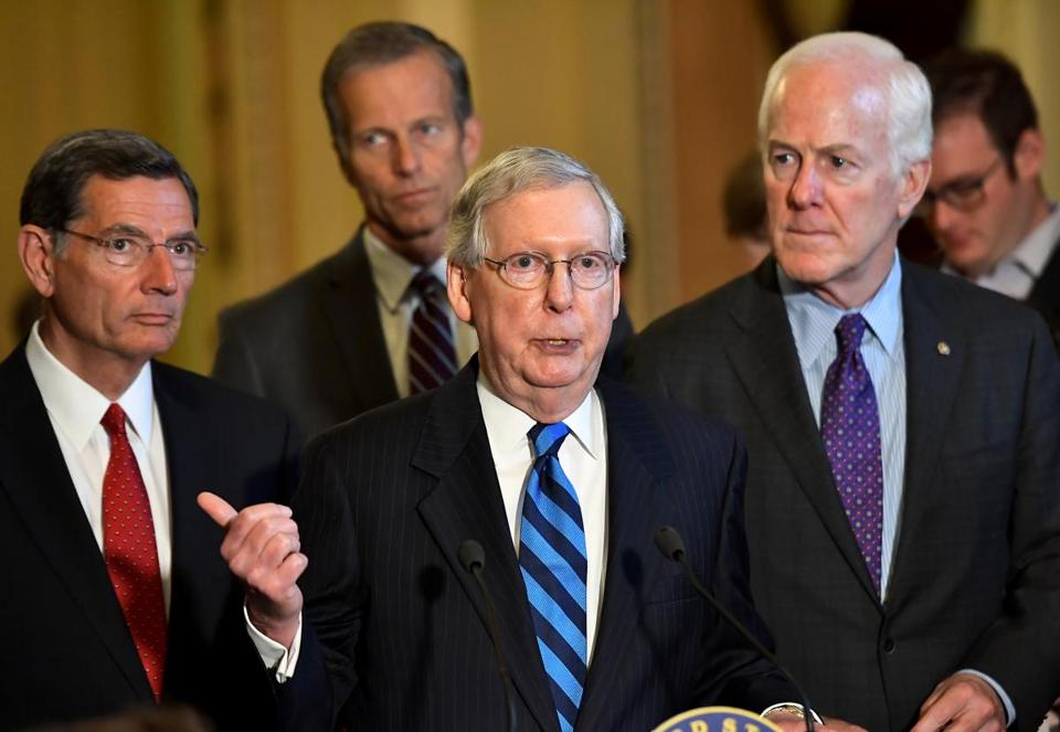 Senate Majority Leader Mitch McConnell (R-Ky.) at the Capitol Thursday. MUST CREDIT: Katherine Frey, The Washington Post.