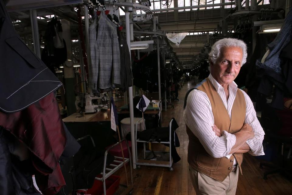 Designer Joseph Abboud at the New Bedford factory he has operated for 30 years.