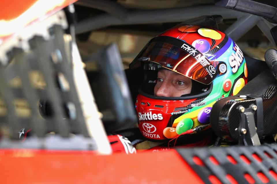 INDIANAPOLIS, IN - JULY 22: Kyle Busch, driver of the #18 Skittles Toyota, sits in his car during practice for the Monster Energy NASCAR Cup Series Brickyard 400 at Indianapolis Motorspeedway on July 22, 2017 in Indianapolis, Indiana. (Photo by Tim Bradbury/Getty Images)