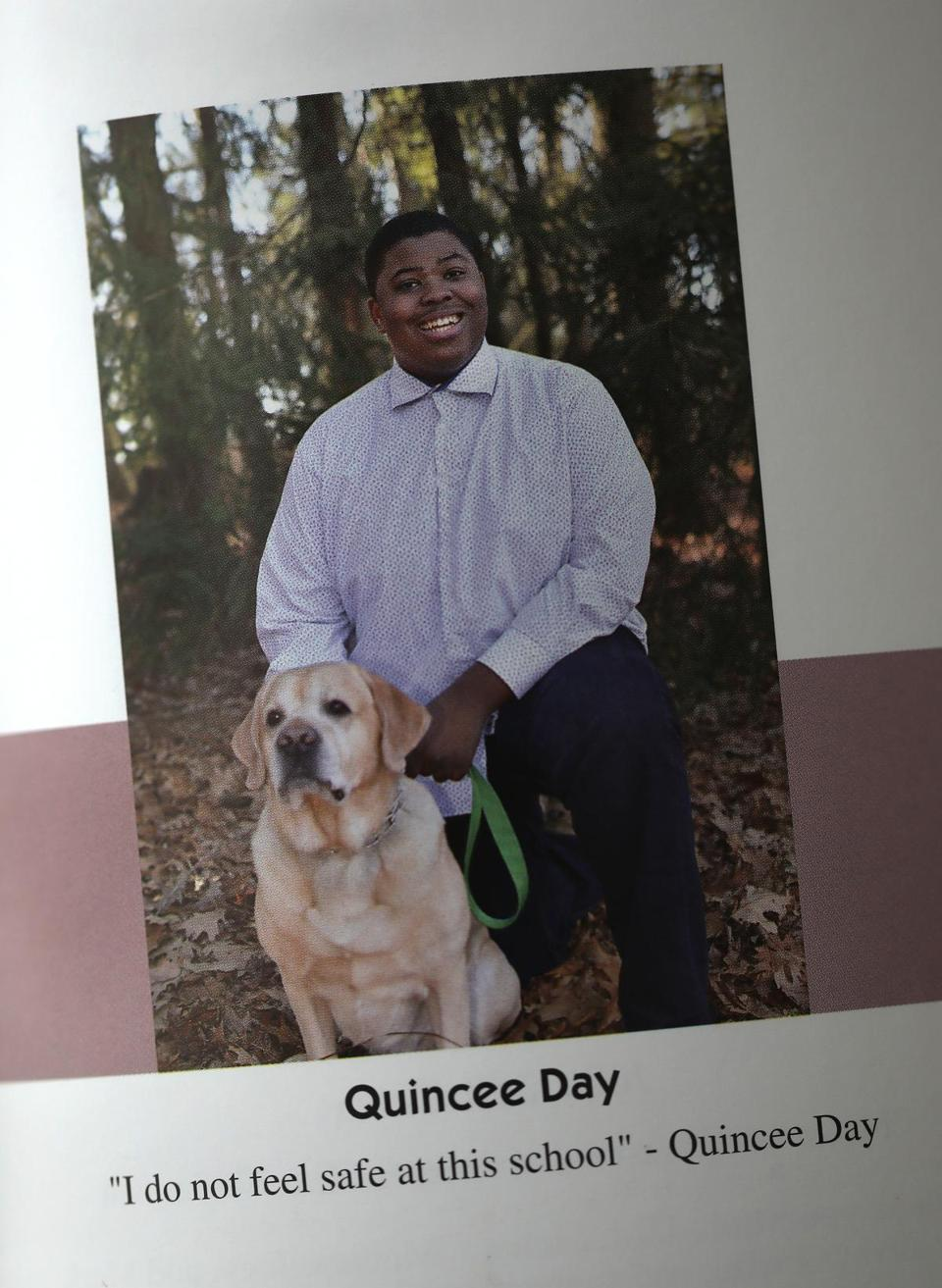 Quincee Day made his feelings of isolation known in his Lincoln-Sudbury Regional High School yearbook.