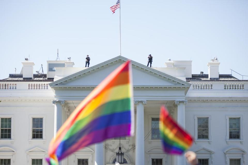 A rainbow flags past the White House during the Equality March for Unity and Peace in June.