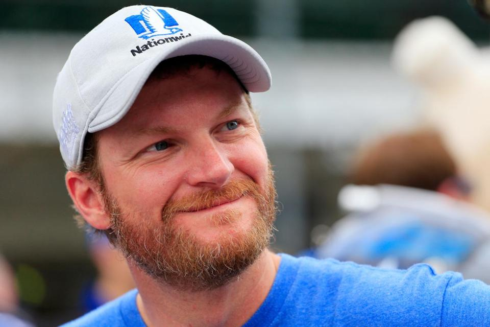 INDIANAPOLIS, IN - JULY 22: Dale Earnhardt Jr., driver of the #88 Nationwide Chevrolet, stands on the grid during qualifying for the Monster Energy NASCAR Cup Series Brickyard 400 at Indianapolis Motorspeedway on July 22, 2017 in Indianapolis, Indiana. (Photo by Daniel Shirey/Getty Images)
