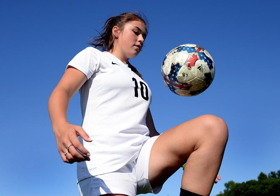 Whitman 07/26/2017: Whitman-Hanson soccer player Lauren Bonavita, 17, moves the ball upfield. Lauren turned down the opportunity to play US Girls Development Academy soccer because she didn't want to give up her senior season at the high school. Photo by Debee Tlumacki for the Boston Globe (south)