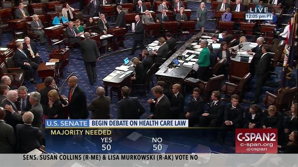 In this image provided by C-SPAN2 shows the Senate after Sen. Susan Collins, R-Maine and Sen. Lisa Murkowski, R-Alaska voted no on the health care legislation. (C-SPAN2 via AP)