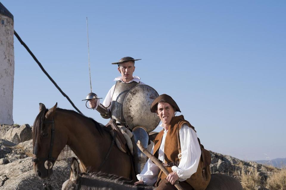 "Steve Coogan (on horse) and Rob Brydon in ""The Trip to Spain."""
