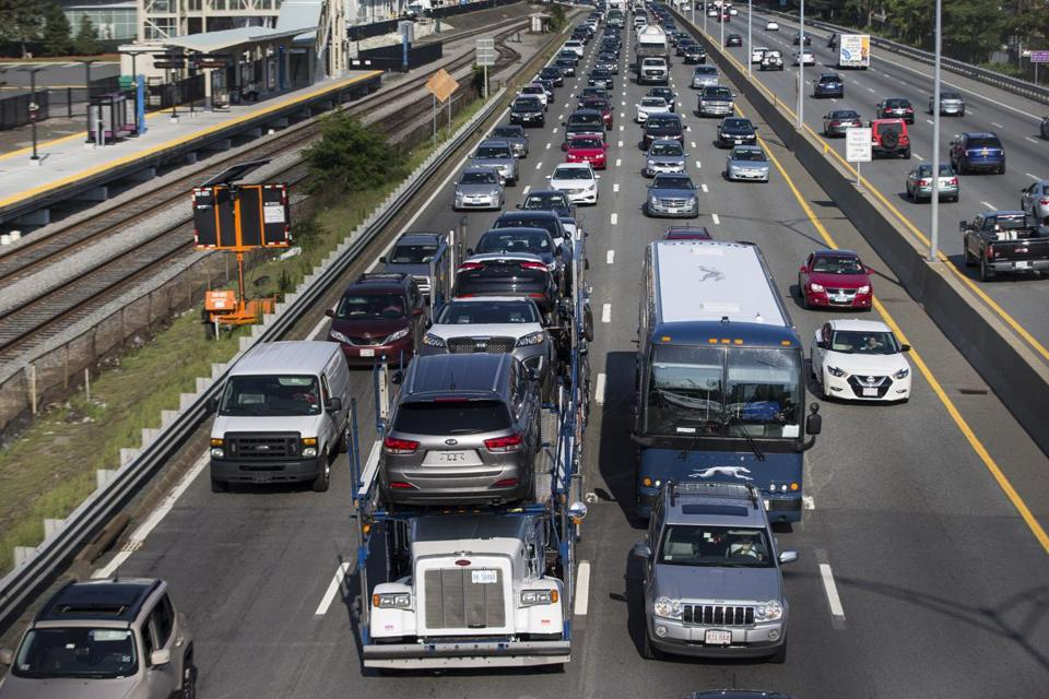 Traffic backed up along the Massachusetts Turnpike in the Allston neighborhood Tuesday.
