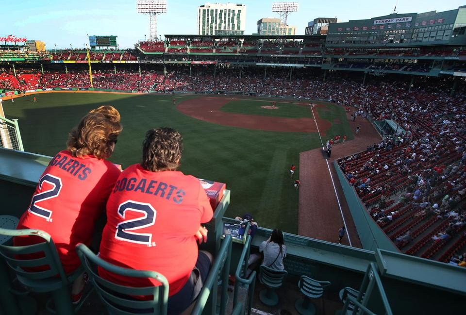 Stacy Pursley, left, and Amy Jones took in the view from Green Monster seats at Fenway Park.
