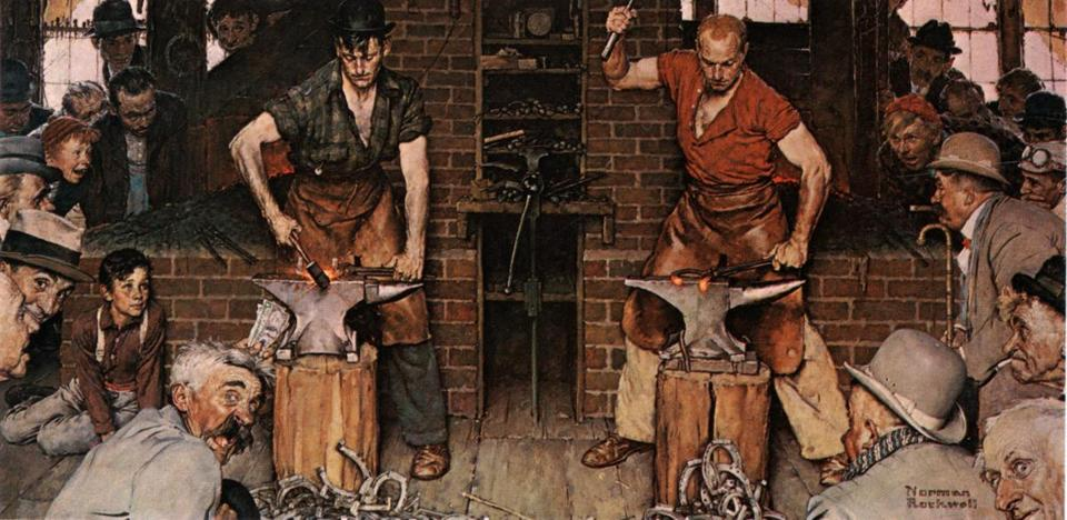 "Sotheby's auction house expects Norman Rockwell's painting ""Blacksmith's Boy — Heel and Toe (Shaftsbury Blacksmith Shop)"" to fetch $7 million to $10 million."