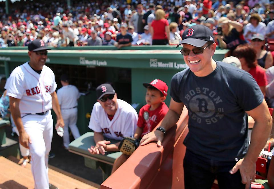 Boston Ma 8/6/17 Matt Damon arrives to his front row seats for a game between the Boston Red Sox and Chicago White Sox at Fenway Park. (photo by Matthew J. Lee) topic: reporter: