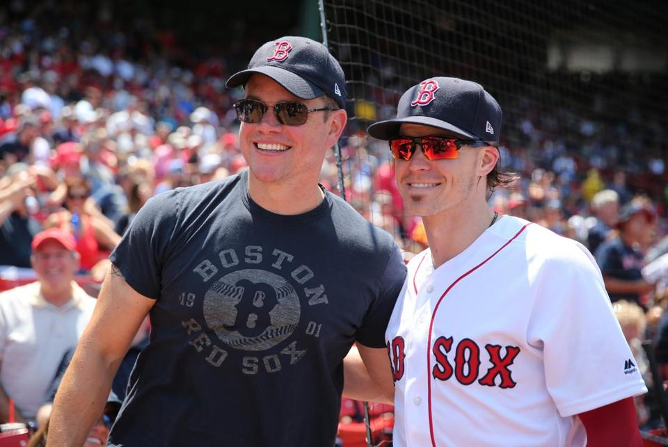 Matt Damon took a picture with Red Sox outfielder Brock Holt.