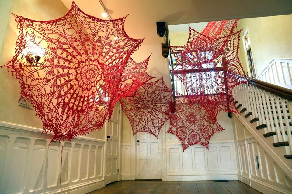 Ashley Blalock's crocheted fiber art at the Highfield Hall & Gardens in Falmouth.