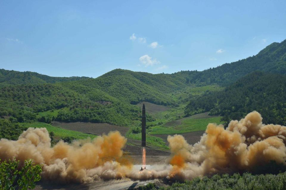 North Korean inter-continental ballistic rocket Hwasong-14 launched at an undisclosed location in North Korea in July