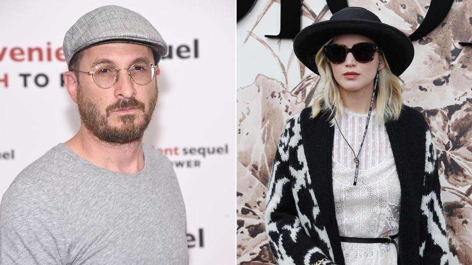 Darren Aronofsky (left) and Jennifer Lawrence (right).