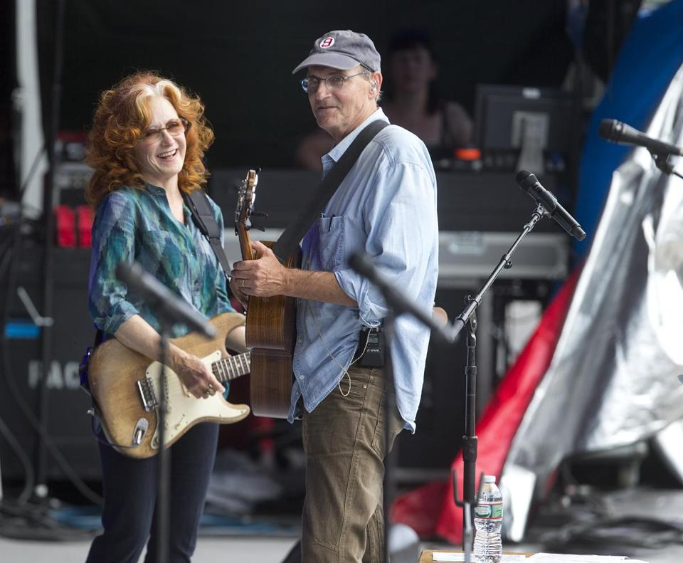 Bonnie Raitt and James Taylor at rehearsal for their 2015 concert at Fenway Park.