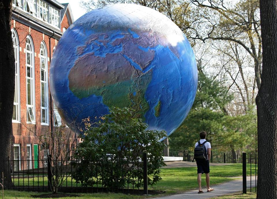 Earth Day with a globe of the world at Babson College.
