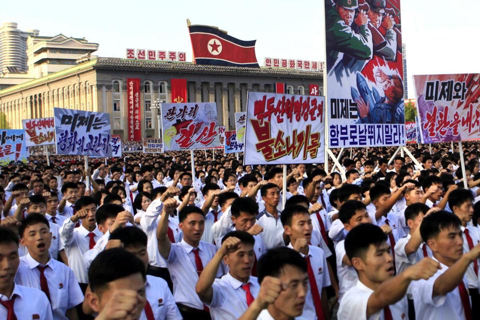 Tens of thousands of North Koreans rallied against UN sanctions in Kim Il Sung Square in Pyongyang on Wednesday.