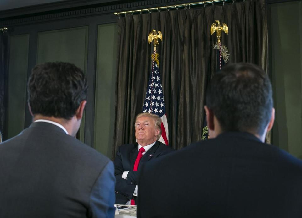 President Donald Trump spoke during a meeting at his Trump National Golf Club in Bedminster, N.J. on Tuesday.