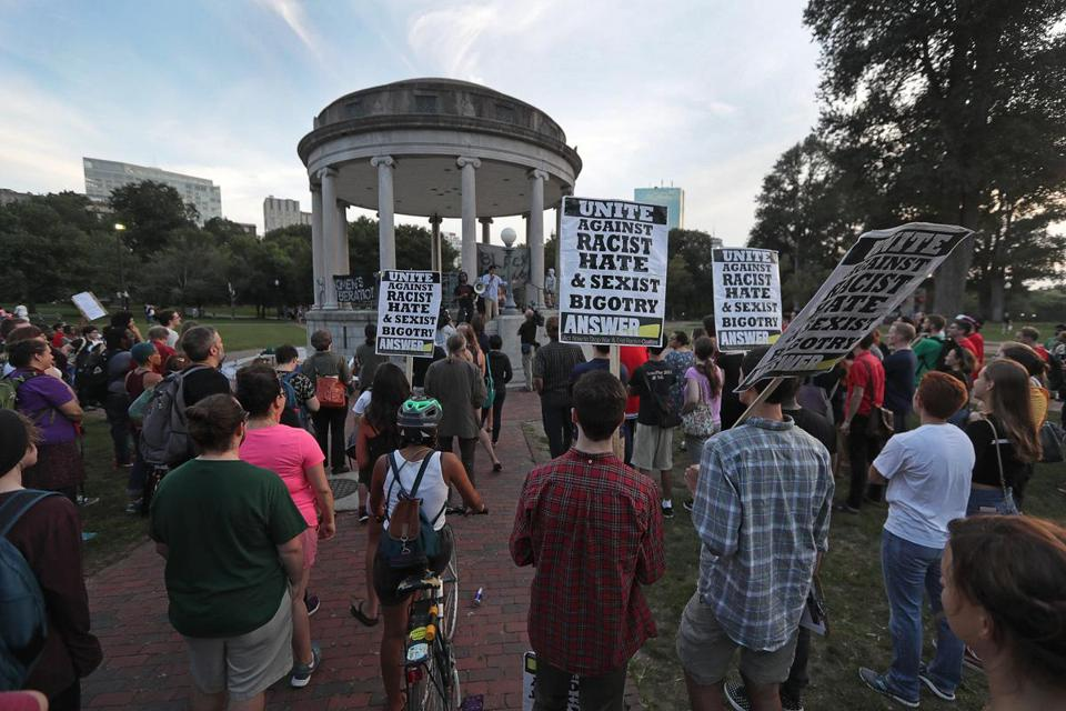 Chanting anti-fascist and pro-diversity slogans, more than 300 people gathered on Boston Common on Saturday evening.