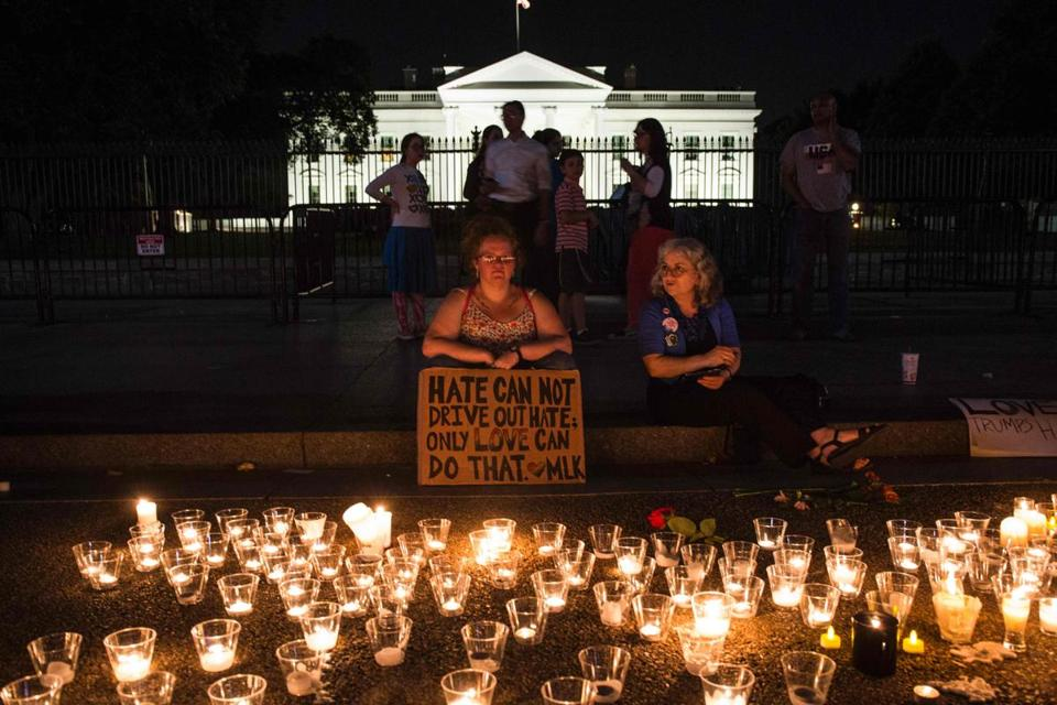 A vigil in front of the White House for the Charlottesville victim Sunday.