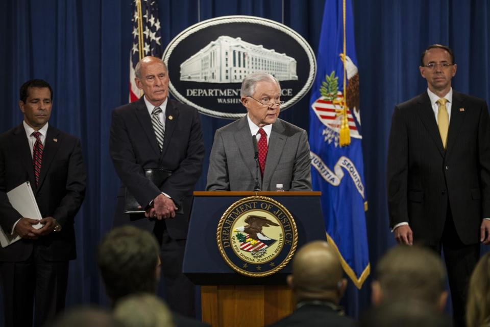 Attorney General Jeff Sessions spoke during a news conference at the Department of Justice earlier this month.
